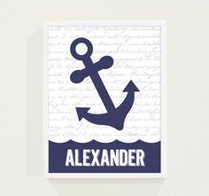 Children Decor Navy Blue Anchor - Boy's Room Wall Art - Nautical Personalized Nursery Art on Etsy, $18.00