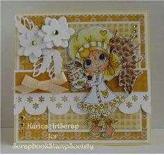KarinsArtScrap: Challenge White and Yellow, bestie stamp