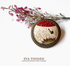 FLYING HIGH handpainted pendant. Antiqued brass necklace. by Eva Thissen Gallery, via Flickr
