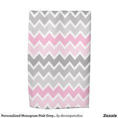 Personalized Monogram Pink Grey Gray Ombre Chevron Kitchen Towel