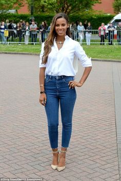 Simply stylish: On Wednesday Rochelle was back in the UK as the audition process for the h...