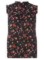 Womens Black Floral High Neck Top- Black