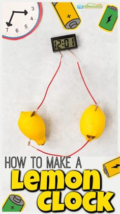 Teachelectricity for kids with this funlemon clock project. In thislemon electricity experiment children will discover how acidic lemon juic conducts electricity. WOW your children with this lemon experiment is fun for preschool, pre-k, kindergarten, first grade, 2nd grade, 3rd grade, and 4th graders. Keep reading to find outhow to make a lemon clock at home!