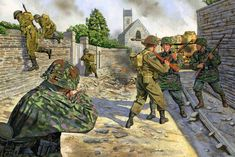 This scene depicts the moment elements of A Coy and C Coy, 1 NNSH retreated from Authie during the early afternoon of 7 June. German infantry and tanks were all around and close encounters were experienced. Military Figures, Military Art, Military History, German Soldiers Ww2, German Army, Military Drawings, Germany Ww2, Ww2 Pictures, Ww2 History