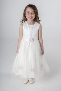 Pink Diamante Roses Flower Girl Dress. available in other colours, please see our website. UK supplier ships worldwide.