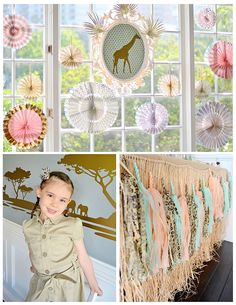 Wild Safari Chic Party with a girly twist! Love the gold, blush and mint color scheme.