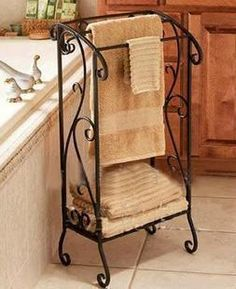 Buy Wrought iron towel rack shelf towel rack floor bathroom towel hanging Support wholesale in Cheap Price on m. Hang Towels In Bathroom, Kitchen Towels, Small Bathroom, Bath Towels, Wrought Iron Decor, Rod Iron Decor, Iron Furniture, Tuscan Decorating, Shelves