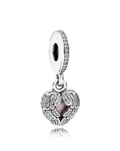 PANDORA Dangle Charm - Sterling Silver, Cubic Zirconia & Enamel Angel Wings, Moments Collection | Bloomingdale's