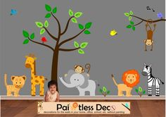 Lion Tiger and Friends Zoo Animals Wall Decal - sf9 Reusable Jungle Land Zoo Animals Wall Decal fabric wall decal sticker [fw5240P] - $199.99 : Paintless Deco Impressions, Reusable Fabric or Vinyl Wall Decals and Vinyl Car Window Decals