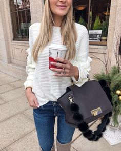 Switching out sequins this year for some cozier pieces!  Like this ruffle sleeve sweater that is adorable with jeans, skirts, leggings and basically everything  Got my holiday coffee to stay up till midnight also ☕️ Happy New Year's Eve! ✨ outfit details through the link in my bio or on LTK app // http://liketk.it/2u4BG @liketoknow.it #liketkit