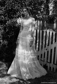 christos costarellos spring 2018 bridal long sleeves straight across full embellishment romantic bohemian a  line wedding dress sweep train (93) mv