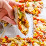 Ezekiel Tortillas Pizza with Corn, Peppers and Garlic Sauce