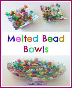 These melted bead bowls are made with just beads, an oven-proof bowl, and an oven! They are great for holding trinkets or giving as gifts. Holiday Crafts For Kids, Crafts For Girls, Easy Crafts For Kids, Craft Activities For Kids, Crafts To Do, Preschool Crafts, Arts And Crafts, Diy Crafts, Daycare Crafts
