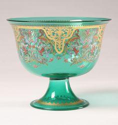 Borella polychrome enamel green Murano glass tazza prob. by Francesco Toso for Salviati  Co. Venice, Italy 20th Cent.