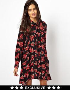 Image 1 ofGlamorous Swing Shirt Dress Ditsy Floral