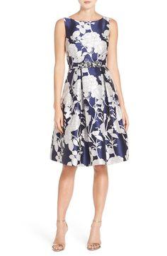 Eliza J Belted Jacquard Dress (Regular & Petite)