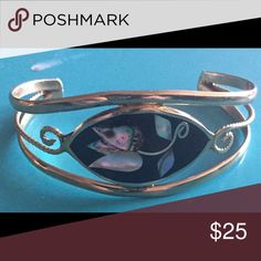 Alpaca silver bracelet Sterling silver bracelet with flower inlay size small alpaca Jewelry Bracelets