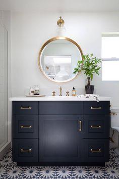 Encaustic Floor Tiles. Bathroom Encaustic Floor Tiles. Navy bathroom cabinet with brass hardware and Encaustic Floor Tiles. #Bathroom #EncausticFloorTiles #BathroomEncausticFloorTiles Holst Brothers General Contractors. Kirsten Marie Inc, KMI