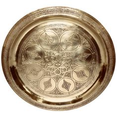View this item and discover similar for sale at - Vintage Moroccan polished round serving brass tray platter with traditional geometric Moorish designs. Moroccan Dishes, Round Tray, Moorish, Art Object, Serveware, Islamic Art, Platter, Objects, Artisan