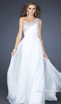 15 Prom Dresses A Line Floor Length White One Shoulder Chiffon Beading/Sequins http://www.ikmdresses.com/2014-Prom-Dresses-A-Line-Floor-Length-White-One-Shoulder-Chiffon-Beading-Sequins-p84907