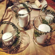 Wedding cocktail Centerpieces with real fern leaves and glue dots