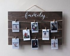 FAMILY Wood Picture / Polaroid Wall Decor Display with Pins