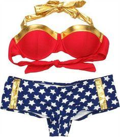 Wonder Woman Bandeau Cheeky ... from stylinonline.com on Wanelo