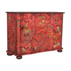 Red Floral Duchess 3-drawer Chest ($20) ❤ liked on Polyvore featuring home, furniture, storage & shelves, dressers, 3 drawer dressers, red dresser, red furniture, three drawer dresser and floral furniture