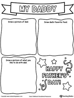 **FREE** Personalized Father's Day Card Drawing Activity Worksheet. Create this personalized father's day card by drawing dad, his favorite food and what you enjoy doing with him.