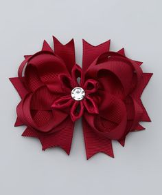 Take a look at this Burgundy Flower Clip by Picki Nicki Hair Bowtique on #zulily today!