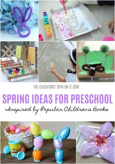 Spring Book List and Spring Activities for the Virtual Book Club for Kids. Spring Activities, Sensory Activities, Toddler Activities, Girl Scout Daisy Activities, Kindergarten, Spring Books, Sensory Book, Spring Theme, Preschool Crafts
