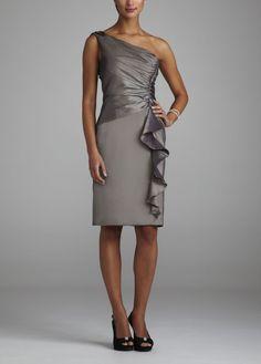One Shoulder Short Taffeta Dress with Ruffle Style 4516