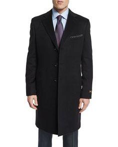 M3096 Neiman Marcus Cashmere Long Car Coat, Black