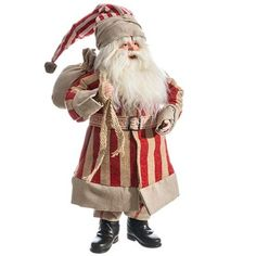"Standing Santa Color: Red, Natural Size: 19"" Standing Santa wearing a red and natural striped coat and hat, burlap sack on his back. This item is on order and arriving Summer 2015"