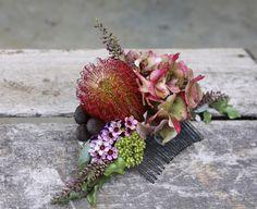Swallows Nest Farm: February Wedding at Woodbridge Hill Hideaway Wax Flowers, Flowers In Hair, Fresh Flowers, Flower Hair, Flower Crown Wedding, Floral Wedding, Wedding Flowers, Red Hydrangea, Boutonniere