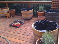 whiskey barrel--how to prepare for planters                                                                                                                                                     More