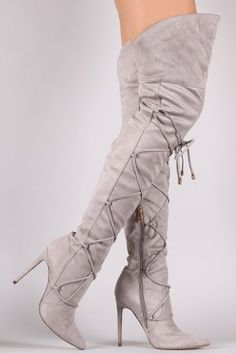 eb92f82e205 Solid Color Suede Pointy Toe Lace Up Over Knee Thigh High Boots Womens Long  Boot
