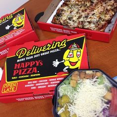 Ordering in on game day?? Look up your nearest Happy's Pizza location for delicious delivery! #happyspizza #pizza #ribs #delivery