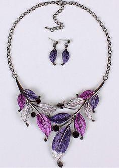 Collar púrpura de la hoja con los pendientes Establecer Sólo $ 7.19 ENVIADO!