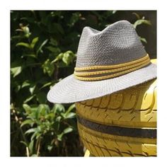 Grey Panama hat in yellow trim with studs Raffia Hat, Gold Coins, Classic White, Leather Sandals, Panama Hat, Sunnies, Red And Blue, Boho Fashion, Studs