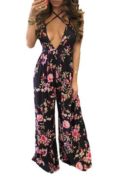 La Chilly Wide Leg Jumpsuits Sexy Open Back Flower Print Holiday Jumpsuit long party Rompers women Casual 2017 women's macacao Casual Jumpsuit, Floral Jumpsuit, Halter Jumpsuit, Palazzo Jumpsuit, Rompers Women, Jumpsuits For Women, Long Jumpsuits, Jumpsuits 2017, Striped Jumpsuits