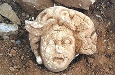 DHA Photo The head of Medusa, a Greek mythological creature who turned all that gazed upon her into stone, has been unearthed during excavations in the ancient city of Antiocheia Ad Cragum in the southern province of Antalya's Gazipaşa district. Greek Creatures, Greek Mythological Creatures, Mythical Creatures, Greek And Roman Mythology, Greek Culture, Archaeological Finds, Ancient Artifacts, Ancient Civilizations, Ancient Greece