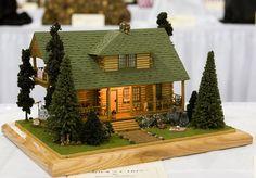 Denise Sanders, Jock's Lodge Good Sam Showcase of Miniatures Putz Houses, Village Houses, Fine Arts School, Miniature Houses, Mini Houses, House Ornaments, Glitter Houses, Paper Houses, Tiny House Design