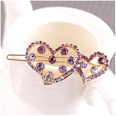 Casualfashion Small Cute Love Rhinestone Hair Clip Barrette Accessories Side Clips Jewelry for Women 1PcsPurple >>> Be sure to check out this awesome product.