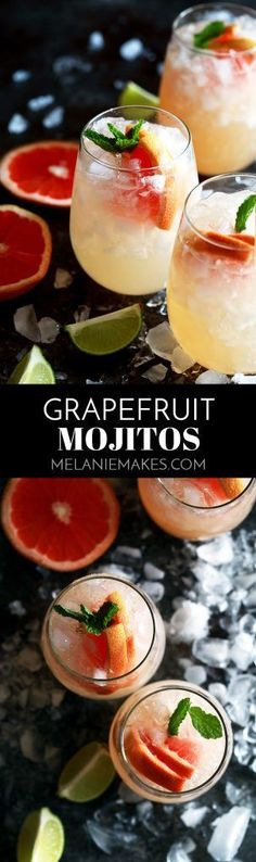 These six ingredient Grapefruit Mojitos couldn't be easier and makes four drinks with just 10 minutes of prep time. Fresh mint and limes are muddled together before being drowned in grapefruit juice, simple syrup, white rum and club soda. Cocktail Recipes, Cocktail Drinks, Smoothie Recipes, Smoothies, Drink Recipes, Dessert Recipes, Grapefruit Cocktail, Party Food And Drinks, Snacks