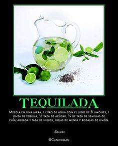 #ViernesSocial #Bebida #Tequilada  Mezcla en una jarra, 1 litro de agua con el jugo de 8 limones, 1 onza de #Tequila, ½ taza de azúcar, ¼ de taza de semillas de #Chia; agrega 1 taza de hielos, hojas de #Menta y rodajas de #Limon.   ¡Salud!  @candidman