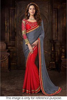 Bollywood Style Model Satin and Chiffon Designer Saree in Grey and Red Colour NC1572