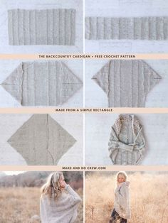 The construction of this sweater couldn't be easier! This cardigan style is modern, on-trend and flattering to a variety of body types. Free pattern detailed tutorial that includes plus sizes. Crochet Cardigan Pattern, Crochet Shawl, Crochet Stitches, Knit Crochet, Crochet Patterns, Sweater Knitting Patterns, Crochet Crafts, Easy Crochet, Crochet Projects
