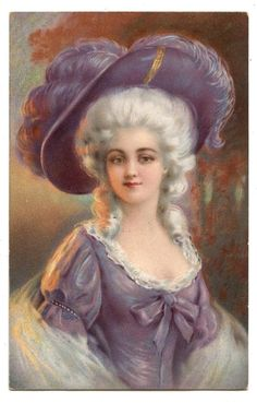PRETTY GIRL.FEATHER HAT.FEMME.MARQUISE.WOMAN MARCHIONESS.CHAPEAU PANACHE