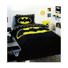Batman Logo Bedding Quilt Cover Set Single ❤ liked on Polyvore featuring home, bed & bath, bedding, quilts, batman, bed, other, house and batman bedding